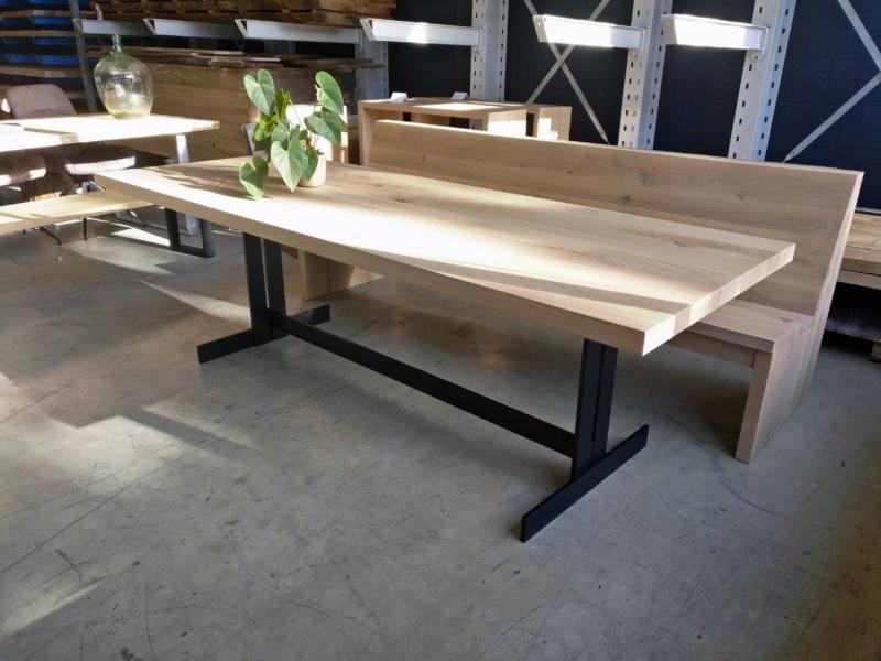 Eiken tafel Staalstrip onderstel