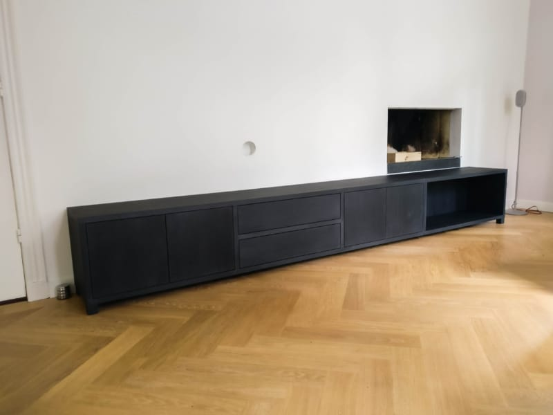 Lang zwarte tv meubel